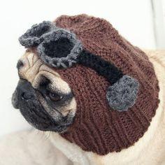 Pug dog Aviator hat! cuteeee