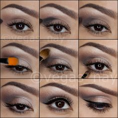 1.) prime eye w/ UD primer potion  apply TEASE through crease using blending brush) 2.) apply BLACKOUT to outer crease; forming an effortless V shape 3.) blend out the harsh lines, w/ color YDK  blend upward over crease 4.) pat VERVE on middle of lid  move inward. Then blend in SNAKEBITE on outer lid for a smooth transition 5.) highlight brow bone w/ FOXY 6.) smudge BUSTED to lower lash line