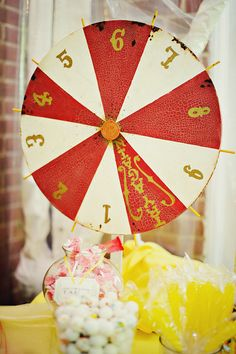 a broken lazy susan made into a game spinner..cute for decoration