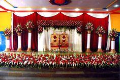 Bangalore Stage Decoration - Design Wedding Okay - Wedding Planning Portal - Bangalore Used Wedding Decor, Wedding Hall Decorations, Wedding Stage Design, Backdrop Decorations, Wedding Favors, Reception Stage Decor, Wedding Stage Backdrop, Wedding Entrance, Wedding Mandap