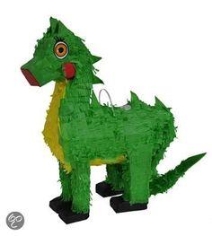 Leuke pinata in de vorm van een groene met gele dinosaurus. De pinata kan naar wens gevuld worden met snoepgoed of kleine cadeautjes. De pinata is ongeveer 48 cm x 39 cm groot en gemaakt van papier mache en karton.