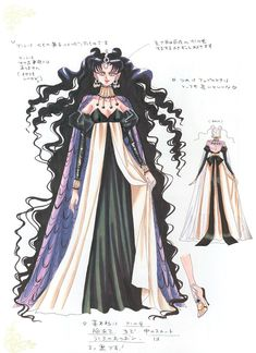 "Character design sheet for villain Queen Nehelenia from ""Sailor Moon"" series by manga artist Naoko Takeuchi."