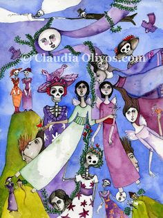 Angels and Day of the Dead Art. Weddings, love, death, children, couples of all kinds all in one archival print of a watercolor painting. by OlivosARTstudio on Etsy https://www.etsy.com/listing/86415889/angels-and-day-of-the-dead-art-weddings