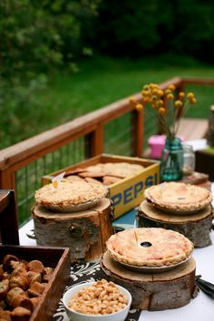Nothing says #rusticwedding charm like a #pie table! Photo by Aaron Courter Photography