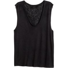 H&M Sleeveless jersey top (195 UYU) ❤ liked on Polyvore featuring tops, shirts, tank tops, tanks, black, v neck tank top, sleeveless tank tops, sleeveless jersey, v-neck shirt and v-neck tank tops
