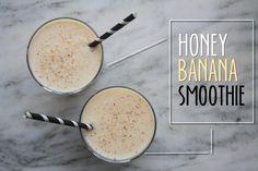 Honey Banana Smoothie --makes 1 cup plain non-fat Greek yogurt 1 banana 1 cup orange juice 1 teaspoon honey pinch of freshly grated nutmeg Mitzi's Modification: Substitute organic milk for the OJ to boost the protein. Juice Smoothie, Smoothie Drinks, Healthy Smoothies, Healthy Drinks, Smoothie Recipes, Healthy Snacks, Healthy Recipes, Banana Smoothies, Simple Smoothies