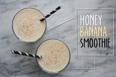 Honey Banana Smoothie. Yum! Mitzi's Modification: Substitute 1% organic milk for the OJ to boost the protein. #smoothie #honey