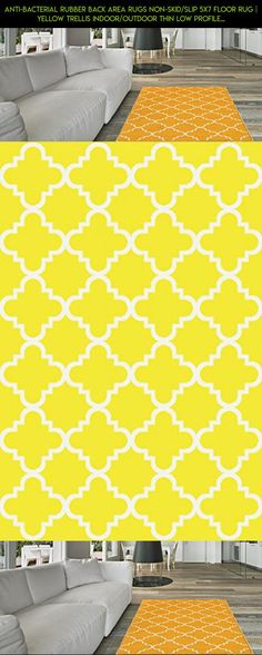 Anti-Bacterial Rubber Back AREA RUGS Non-Skid/Slip 5x7 Floor Rug | Yellow Trellis Indoor/Outdoor Thin Low Profile Living Room Kitchen Hallways Home Decorative Traditional Area Rug #technology #kit #parts #shopping #outdoor #plans #decor #racing #products #tech #camera #drone #fpv #yellow #gadgets