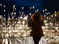 LEDscape interactive light bulb art work
