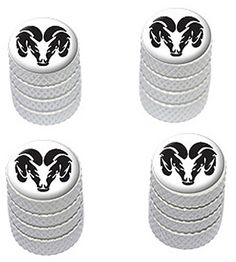 """(4 Count) Cool and Custom """"Diamond Etching Dodge RAM Logo Top with Easy Grip Texture"""" Tire Wheel Rim Air Valve Stem Dust Cap Seal Made of Genuine Anodized Aluminum Metal {White and Black Colors} mySimple Products http://www.amazon.com/dp/B014JYD7H0/ref=cm_sw_r_pi_dp_CpSJwb0GNY33K"""