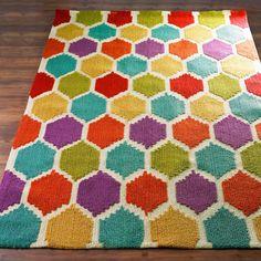 Rainbow Honeycomb Pattern Rug ~ (prices vary with size) at shadesoflight.com