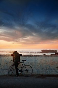 "♂ Solitude ""Essaouira"" by Manuel Lao man bike beach alone"
