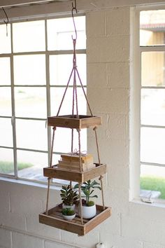 Hanging Three Tiered Square Recycled Wood Display With Jute Rope - Modern Regal Display, Wood Display, Display Shelves, Reclaimed Wood Furniture, Rustic Furniture, Diy Furniture, Wood Wood, Wood Walls, Industrial Furniture