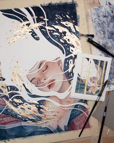 Gold drawing, leaf drawing, gold leaf art, gold art, the last Leaf Drawing, Painting & Drawing, Gold Drawing, Inspiration Art, Art Inspo, Art Sketches, Art Drawings, Art Et Design, Gold Leaf Art