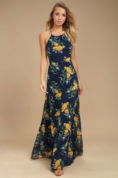Lovely Navy Blue and Yellow Floral Print Dress - Maxi Dress - Lace-Up Dress Lulus