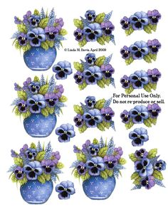 Blue Vase with Pansies