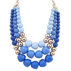 Nautical Blue Big Beads Decorated Multilayer Design Alloy Korean #Necklaces www.asujewelry.com