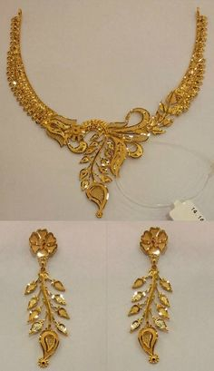 Gold Jewelry Design In India Key: 4670484914 Gold Earrings Designs, Gold Jewellery Design, Necklace Designs, Handmade Jewellery, Gold Jewelry Simple, Silver Jewelry, Silver Ring, Silver Earrings, Hena