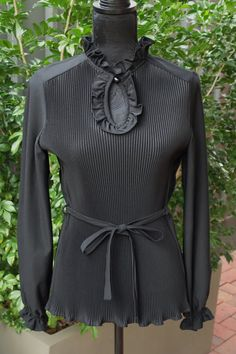 VINTAGE 1970's Black Pleated Front Blouse Shirt by FashionReviva