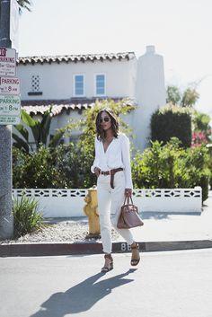 Helmut Lang Wrap Blouse Mango Buckle Belt Levi's White Boyfriend Jeans Celine Two Tone Sandals  Hermes Birkin Bag