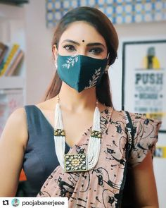Saree Blouse Patterns, Saree Blouse Designs, Easy Face Masks, Diy Face Mask, Bridal Mask, Modest Fashion Hijab, Creative Embroidery, Hand Embroidery, Gold Jewelry Simple