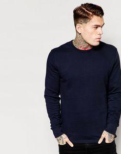 02c1051403 Image 1 of ASOS Sweatshirt In Navy Asos Sweatshirt