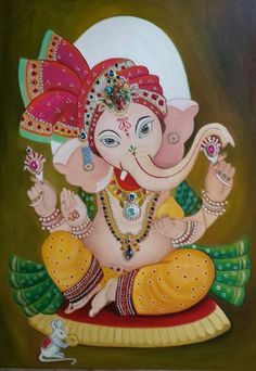 Baby Ganesha mixed media, oil on canvas 60 x 80 cm Glass Painting Patterns, Glass Painting Designs, Paint Designs, Shri Ganesh, Ganesha Art, Ganesha Painting, Madhubani Painting, Aluminum Foil Art, Baby Ganesha