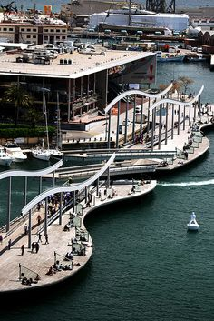 La Rambla del Mar in the Port Vell of Barcelona Barcelona, Spain…だね Barcelona Architecture, Barcelona City, Barcelona Catalonia, Barcelona Travel, Gaudi, Places To Travel, Places To See, Places Around The World, Around The Worlds