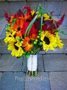 sunflowers, gerberas, dahlias autumn colors wedding bouquets   designed by Perfect Princess Events