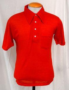 Men's 1970s John Blair burnt orange knit short sleeve shirt (never worn)