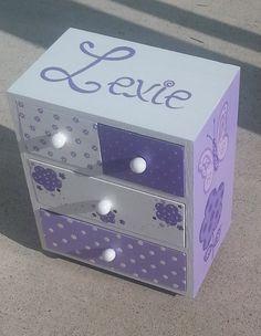 purple girl jewelry box, birthday gift, flower girl gift, bridesmaid gift