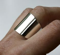 Wide Sterling Silver Ring, Sterling, Plain, Band, Jewelry. $56.00, via Etsy.