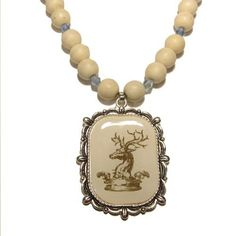 Magnesite Necklace 02 Pendant White Deer Stag Beaded Gemstone Healing Reiki 18  Price : $45.00 http://www.idigcrystals.com/Magnesite-Necklace-Pendant-Gemstone-Healing/dp/B008QQGXCY