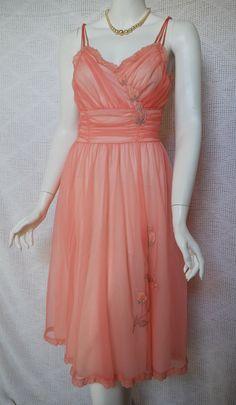 1950s Peach Nightgown, Gotham Gold, Rose appliques, Nylon Chiffon,