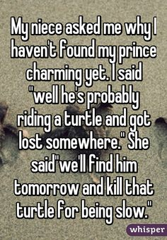 """My niece asked me why I haven't found my prince charming yet. I said ""well he's probably riding a turtle and got lost somewhere."" She said""we'll find him tomorrow and kill that turtle for being slow."""""