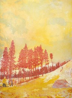 Peter Doig Orange Sunshine The contemporary snowboarders seem oddly out of place in the Renoir-dappled sky and Derain-speckled drifts. But it's the way Doig masters this illusionary effect of the paint that creates a convincing, almost tangible fourth dimension - the muffling stillness of the air, the soggy feel of slushing snow, the crisping smell of twilight.