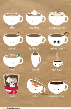 COFFEE Al-Noor, you're the Mocha and i'm the Cappuccino next to you :P Coffee Type, I Love Coffee, Coffee Break, My Coffee, Coffee Drinks, Expresso Coffee, Coffee Mugs, Happy Coffee, Morning Coffee