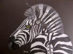 Zebra on black board. Colored pencils.