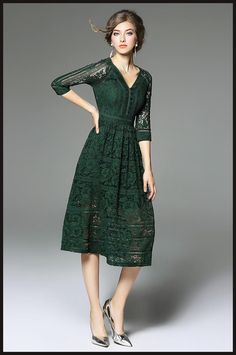 Dark Green Lace Dress Sleeves V-neck A-line 2017 Spring Long Dresses In Stock Ladies Formal Gown Online Green Lace Dresses, Green Dress, The Dress, Dress Skirt, Dress Lace, Shorts Longs, Trendy Dresses, Women's Dresses, Long Dresses