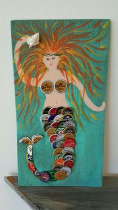 Lovely mermaid … Lovely mermaid More The post Lovely mermaid … appeared first on Craft Ideas. Bottle Top Crafts, Bottle Cap Projects, Beer Cap Art, Beer Caps, Beach Crafts, Cute Crafts, Diy Crafts, Beer Cap Crafts, Bottle Cap Art