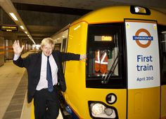 Mayor of London, Boris Johnson with the first train on the East London Line of the London Overground.