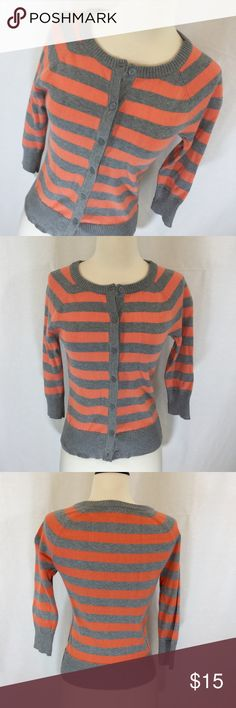 EUC Forever 21 peach and grey cardigan Like new peach and gray cardigan from Forever 21 size small. Three-quarter length sleeves. 100% cotton Forever 21 Sweaters Cardigans