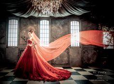 獨一無二的手工禮服,專為東方新娘獨家打造-手工紡紗玫瑰紅禮服