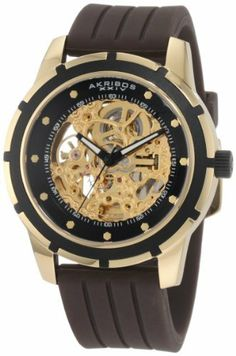 Akribos XXIV Men's AKR444YG Premier Delos Automatic Skeleton Gold Watch Akribos XXIV. $124.99. Men's sporty timepiece showcases stainless steel construction with stunning skeleton dial. Goldtone case with black bezel. Krysterna crystal front and back. Handsome grooved rib design brown rubber strap. Water-resistant to 165 feet (50 M). Save 80%!