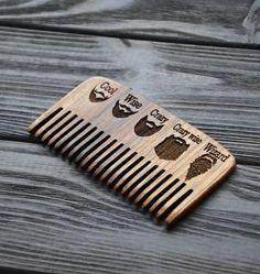 Walnut Beard comb. Personalized custom engraved by EnjoyTheWood