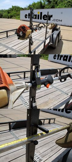 DIY installation project idea for open utility trailers. The pack'em trimmer rack holds up to 3 string trimmers or weed wackers. These holders are constructed of sturdy steel with a finished gray powder coat for corrosion resistance.
