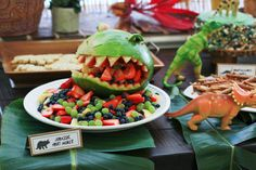 Dash, Three Years: A Dinosaur Party - love the dino fruit!