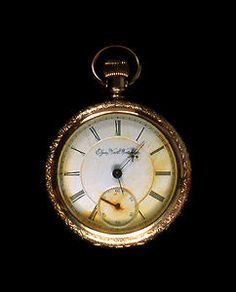 This pocket watch was found on the body of John Starr March, an American sea post clerk assigned to the RMS Titanic. The ocean liner included a crew of five sea post clerks and a cargo of 3,364 sacks of mail. The watch hands point to 1:27- stop clocks at the house?