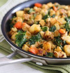 Skillet Potato Tempeh hash with kale recipe