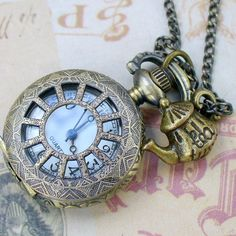 Steampunk TEA TIME  WATCH necklace  never by UmbrellaLaboratory, $19.99